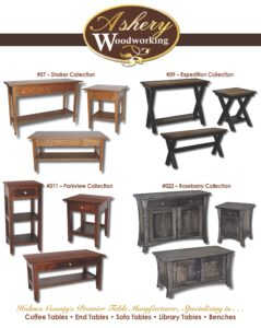 2019 Ashery Woodworking Occasional Catalog Page 01