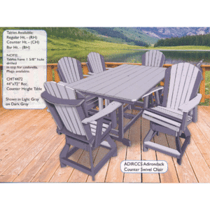 Cht4472 44in X 72in Rectangular Counter Height Table Reg $1095 Sale $986 With Adirccs Adirondack Counter Swivel Chair Reg $643 Sale $579
