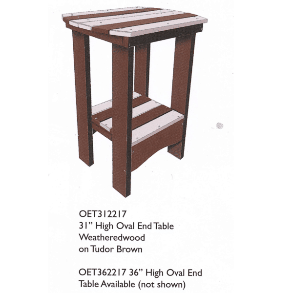Oet312217 31in High Oval End Table Reg $300 Sale $270 ( Oet362217 36in High Oval End Table Not Pictured Reg $321 Sale $289)