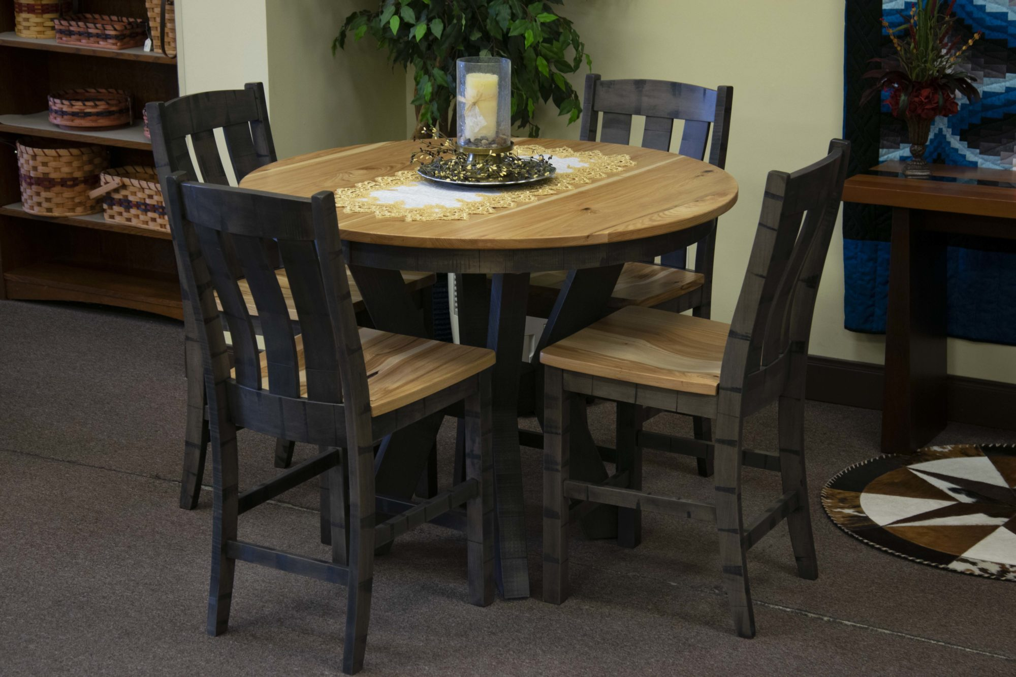 Rustic Hickory Pub Table