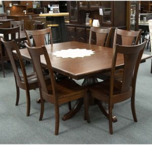 Denver Double Pedestal Table With Falcon Side Chairs