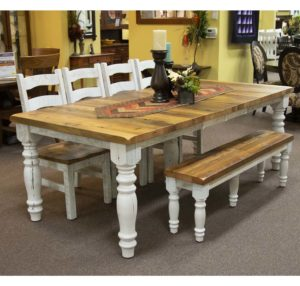 Surfside Leg Table, Frontier Side Chairs, And Surfside Extendable Bench With 3 Extensions