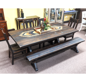 Reclaimed Warwick Trestle Table, Warwick Bench, And Chairs