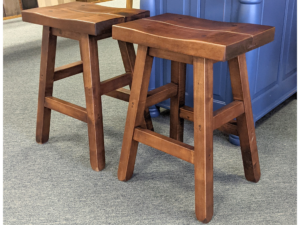 Ss 24 Rustic Saddle With Splined Seat Stool (set) Original Price $708.00 Clearance Price $602.00 Wormy Maple Stain Cottage Brown