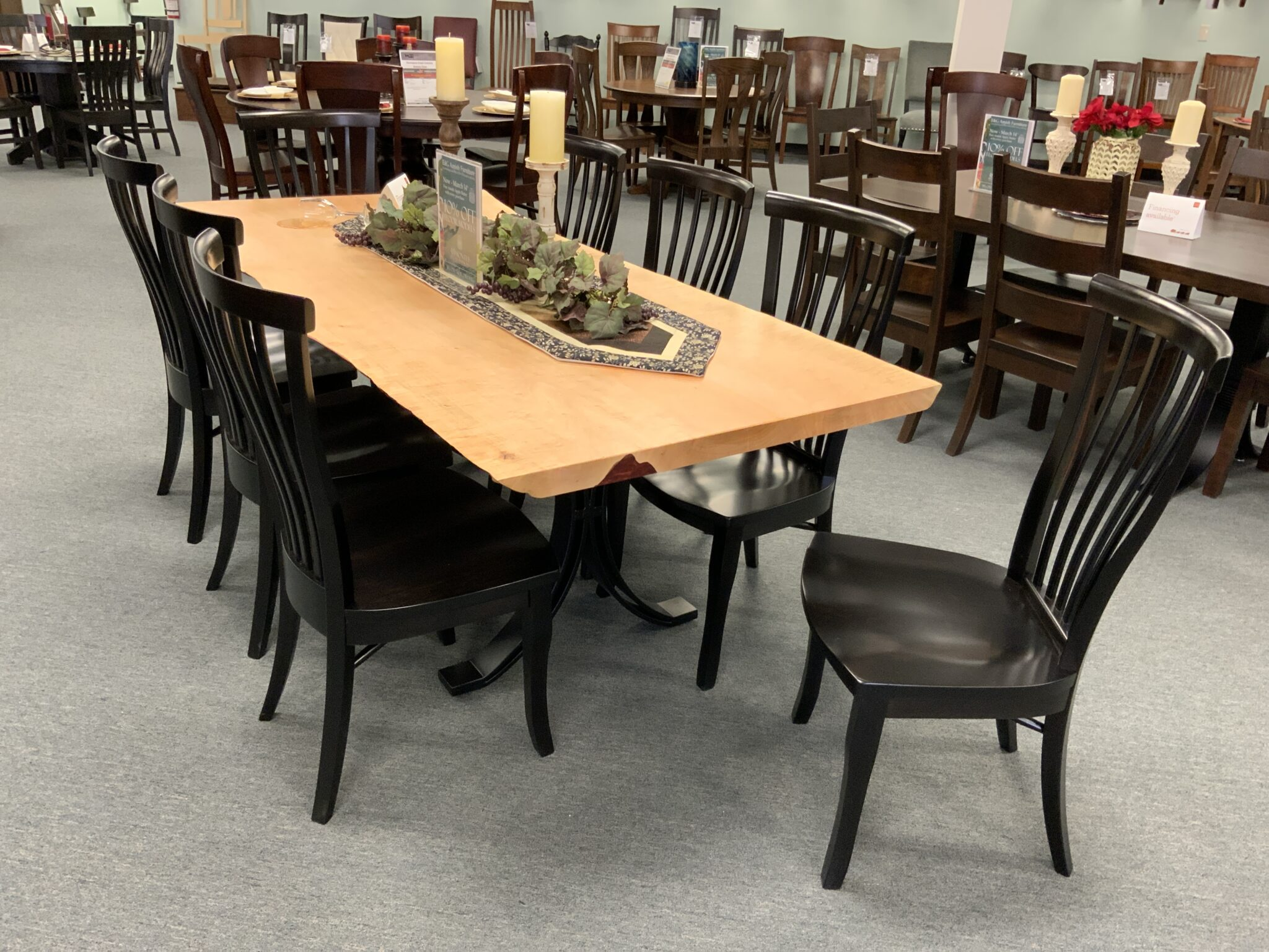 38 X 84 Eclipse Live Edge Table & Chesterfield Sides