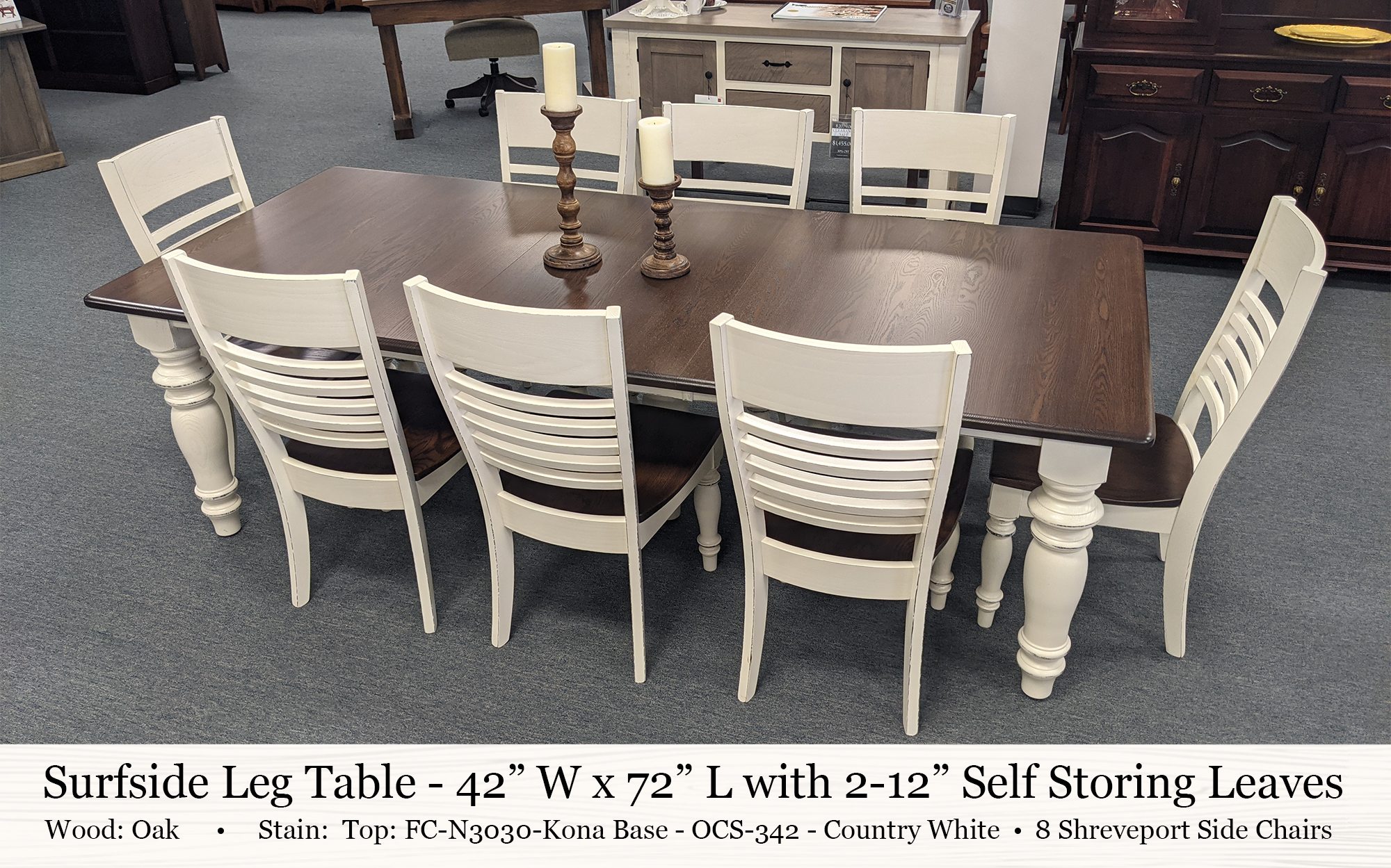 Surfside Leg Table 42 X 72 With 2 12in Leaves Sherwood Side Chairs Oak Two Tone (country White & Kona)