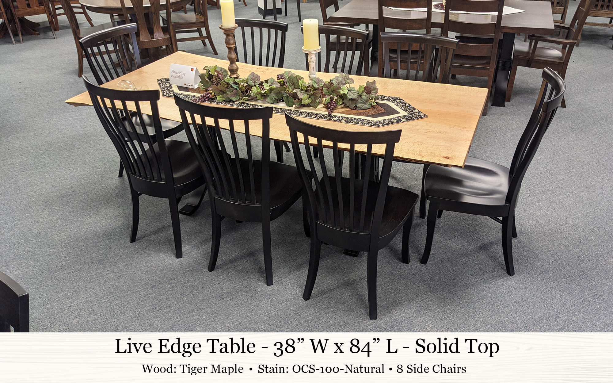 Live Edge Table Chesterfield Chairs